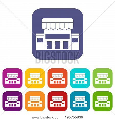 Supermarket building icons set vector illustration in flat style In colors red, blue, green and other