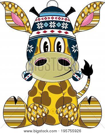 Cute Giraffe In Wooly Hat