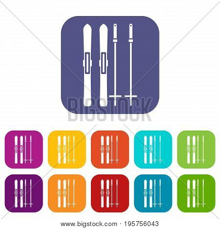 Skis and ski poles icons set vector illustration in flat style In colors red, blue, green and other