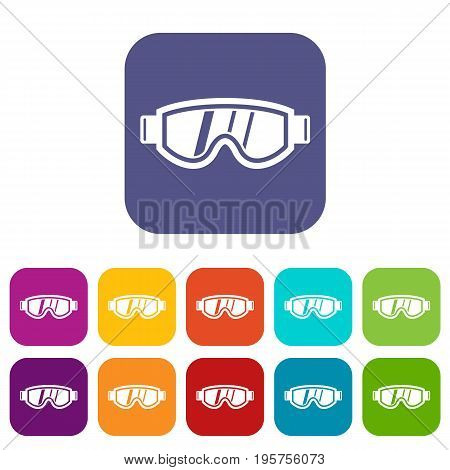 Skiing mask icons set vector illustration in flat style In colors red, blue, green and other