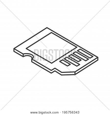 line micro sd technology to save documents vector illustration