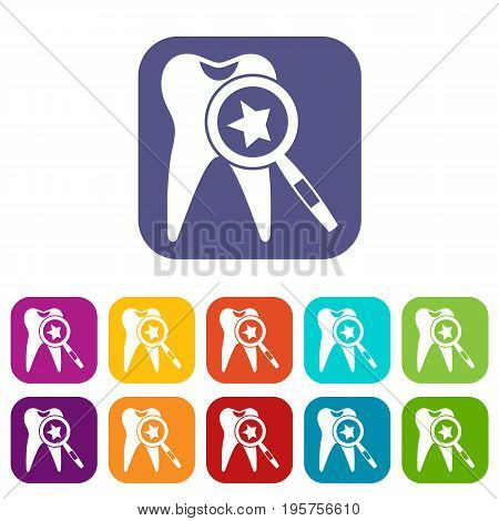 Tooth with magnifying glass icons set vector illustration in flat style In colors red, blue, green and other