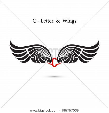 C-letter sign and angel wings.Monogram wing logo mockup.Classic emblem.Elegant dynamic alphabet letters with wings.Creative design element.Corporate branding identity.Flat web design wings icon.Vector illustration.