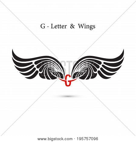 G-letter sign and angel wings.Monogram wing logo mockup.Classic emblem.Elegant dynamic alphabet letters with wings.Creative design element.Corporate branding identity.Flat web design wings icon.Vector illustration.