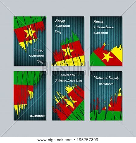 Cameroon Patriotic Cards For National Day. Expressive Brush Stroke In National Flag Colors On Dark S