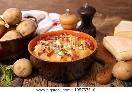 french cuisine with potato,bacon and cheese