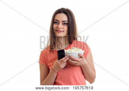 cute smiling Lady with pop corn in the hands isolated on white background