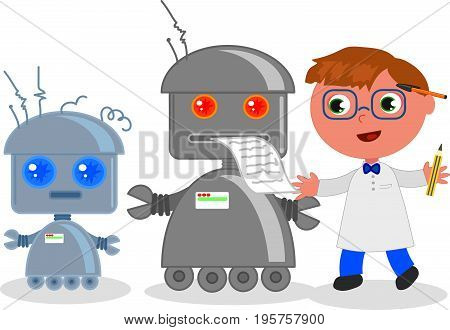 Cute cartoon scientist with funny robots, vector illustration