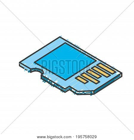 micro sd technology to save documents vector illustration