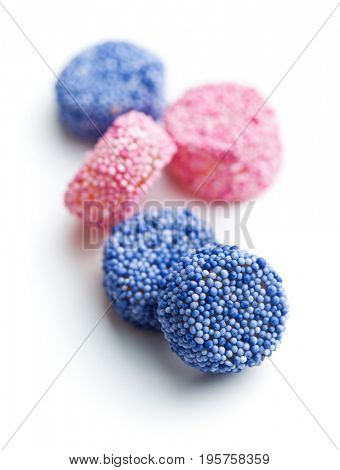 Tasty liquorice candies isolated on white background.