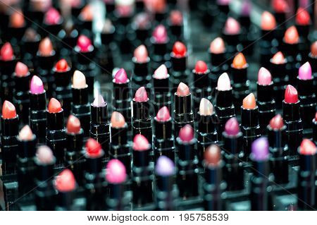 lipstick. professional makeup set of many different colorful lipstick