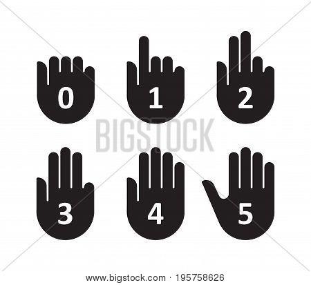 Hands count gesture finger and number. Vector illustration.
