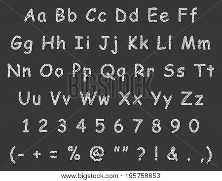 Handwritten letters english alphabet chalk. Vector illustration.