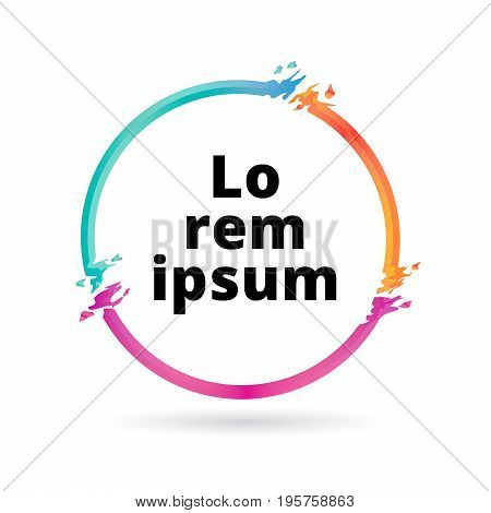 Abstract colorful circle geometric or frame. Abstract splash liquid shape. Background for poster cover banner magazine placard. Logo design Vector illustration