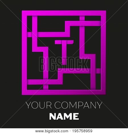 Realistic Letter T vector logo symbol in the colorful square maze on black background. Shadow Breaks. Vector template for your design