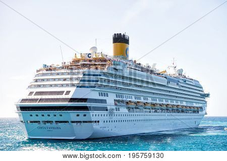 Large Luxury Cruise Ship Liner At Sea