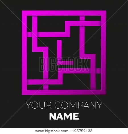 Realistic Letter L vector logo symbol in the colorful square maze on black background. Shadow Breaks. Vector template for your design