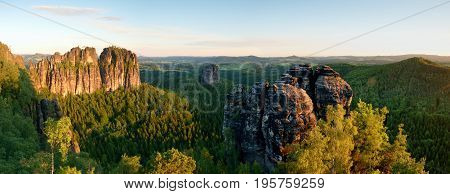 Sharp Schramsteine And Falkenstein Rocks In Panoramic View. Rocks In The Elbe Sandstone Mountains Pa