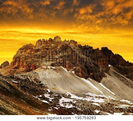 Mountain landscape at sunset in Sexten Dolomites. Mount Paternkofel in South Tyrol, Italy.