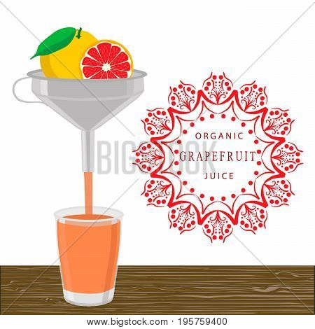 Abstract vector illustration logo for whole ripe fruit orange grapefruit, citrus cut sliced.