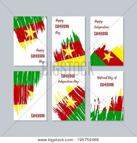 Cameroon Patriotic Cards For National Day. Expressive Brush Stroke In National Flag Colors On White