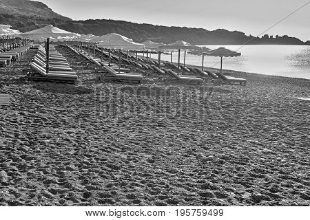 The empty beach landscape on the sea coast with the sunrise and is a lot of blank space for the text of monochrome tone