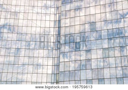 Panoramic And Perspective Wide Angle View To Steel Blue Background Of Glass