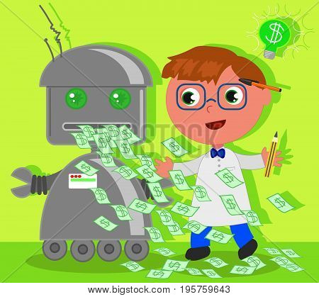 Cartoon scientist has invented a machine for the success making money. Vector illustration.