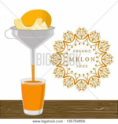 Abstract vector illustration logo for whole ripe fruit yellow melon, half sliced cantaloupe.