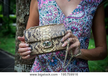Young woman holding a luxury handmade snakeskin python handbag. Expensive clutch.