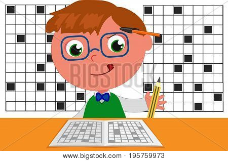 Genius champion of crosswords, cartoon illustration vector poster