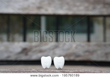 health icon of two white healthy teeth on wooden bench