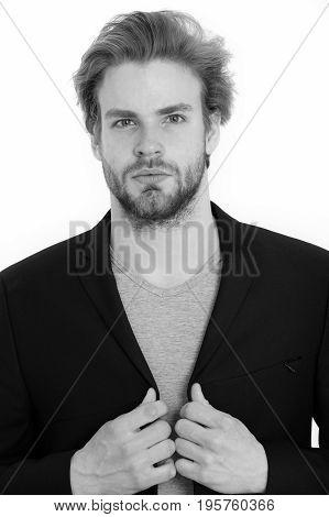 Handsome Bearded Guy, Businessman Or Sexy Man In Formal Jacket
