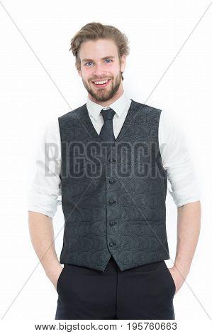 Businessman, Bearded Man Or Smiling Gentleman In Waistcoat And Tie