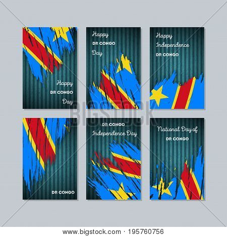 Dr Congo Patriotic Cards For National Day. Expressive Brush Stroke In National Flag Colors On Dark S