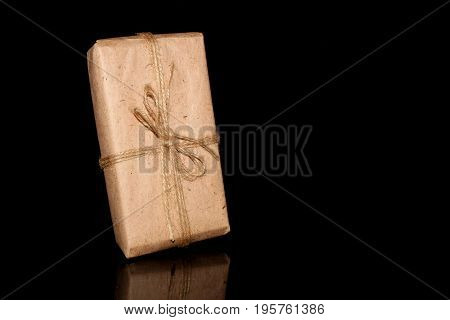 beautiful wrapped gift on a black background