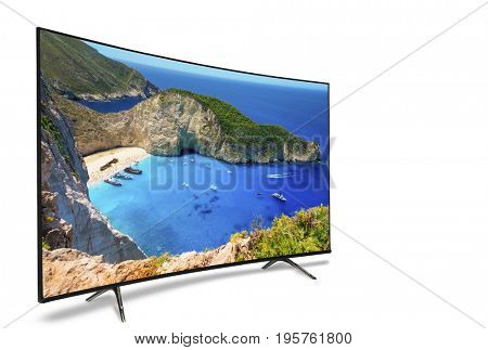 4k monitor isolated on white. Isometric view. TV, panoramic, isolated on white background. View of the bay of Navahio shipwreck, famous for its beauty throughout the world.