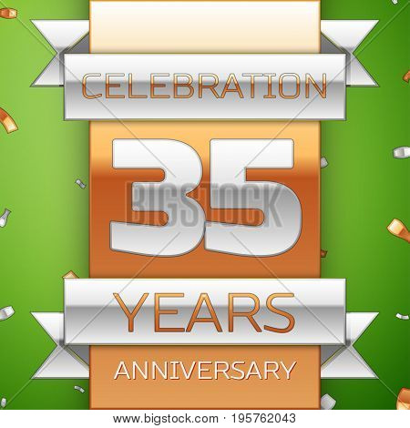 Realistic Thirty five Years Anniversary Celebration Design. Silver and golden ribbon, confetti on green background. Colorful Vector template elements for your birthday party. Anniversary ribbon