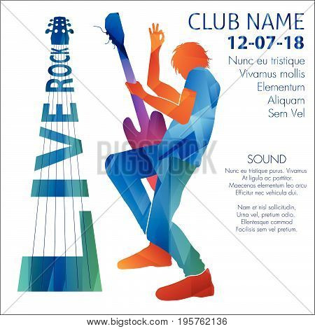 Vector illustration of man playing guitar on live rock show announcement.