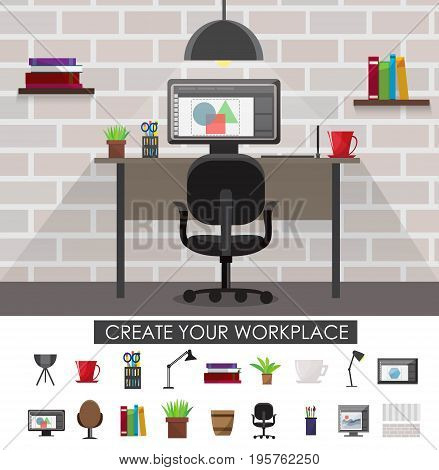 Workplace interior concept with design of room and set of devices and accessories isolated vector illustration