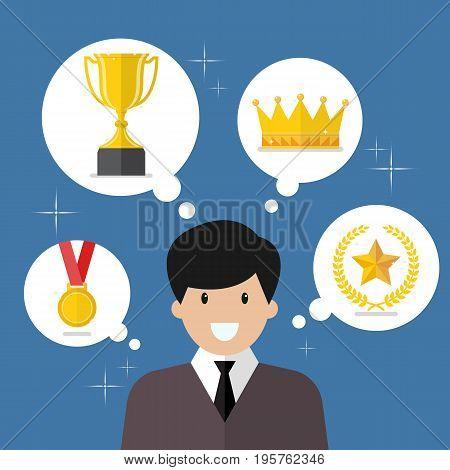 Businessman think about achievements. Vector illustration success concept