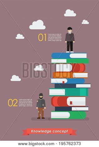 Failure man and Success man on a lot of books infographic. Knowledge concept