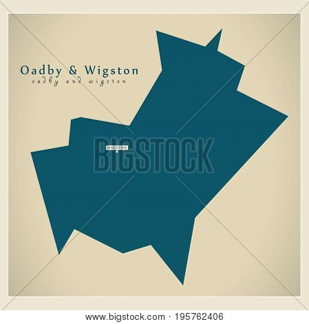 Modern Map - Oadby And Wigston District Of  Leicestershire England Uk Illustration