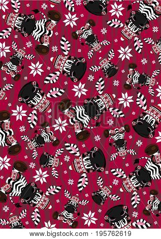 Bobble Santa Zebra Pattern.eps