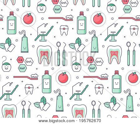 Vector scientific seamless pattern with dentist equipment on white background. Fun iconic style Stomatology and Orthodontics Tools tooth structure.