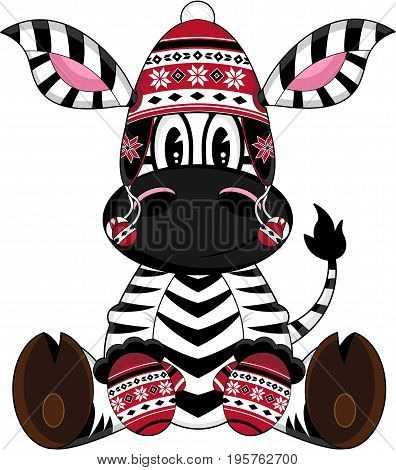 Bobble Hat Zebra Character