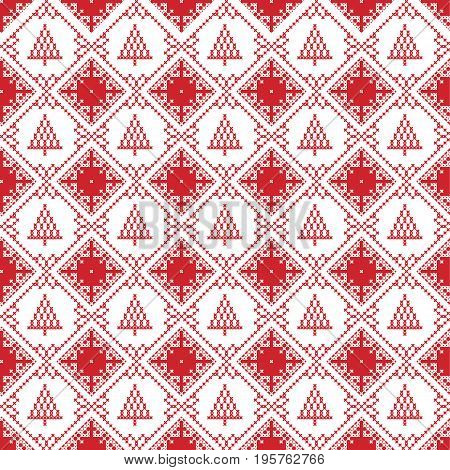 Scandinavian seamless cross stitch inspired by Nordic style Christmas pattern in cross stitch with  Christmas tree, star and decorative ornaments in red and white in square shape