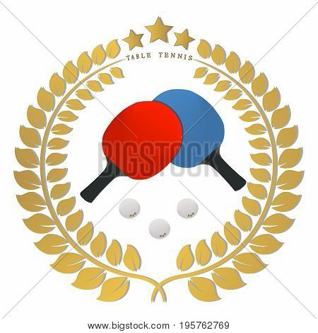Abstract vector illustration logo game table tennis, flying white ball, racket closeup on background.