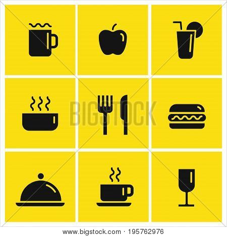 Food and drink vector icons set for fast food, restaurant, coffee