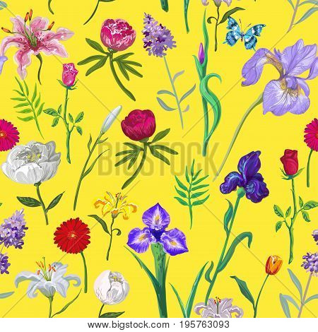 Bright seamless floral pattern on yellow background stock vector